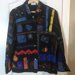 Vtg 90s Chicos Design Geometric Button Blouse L